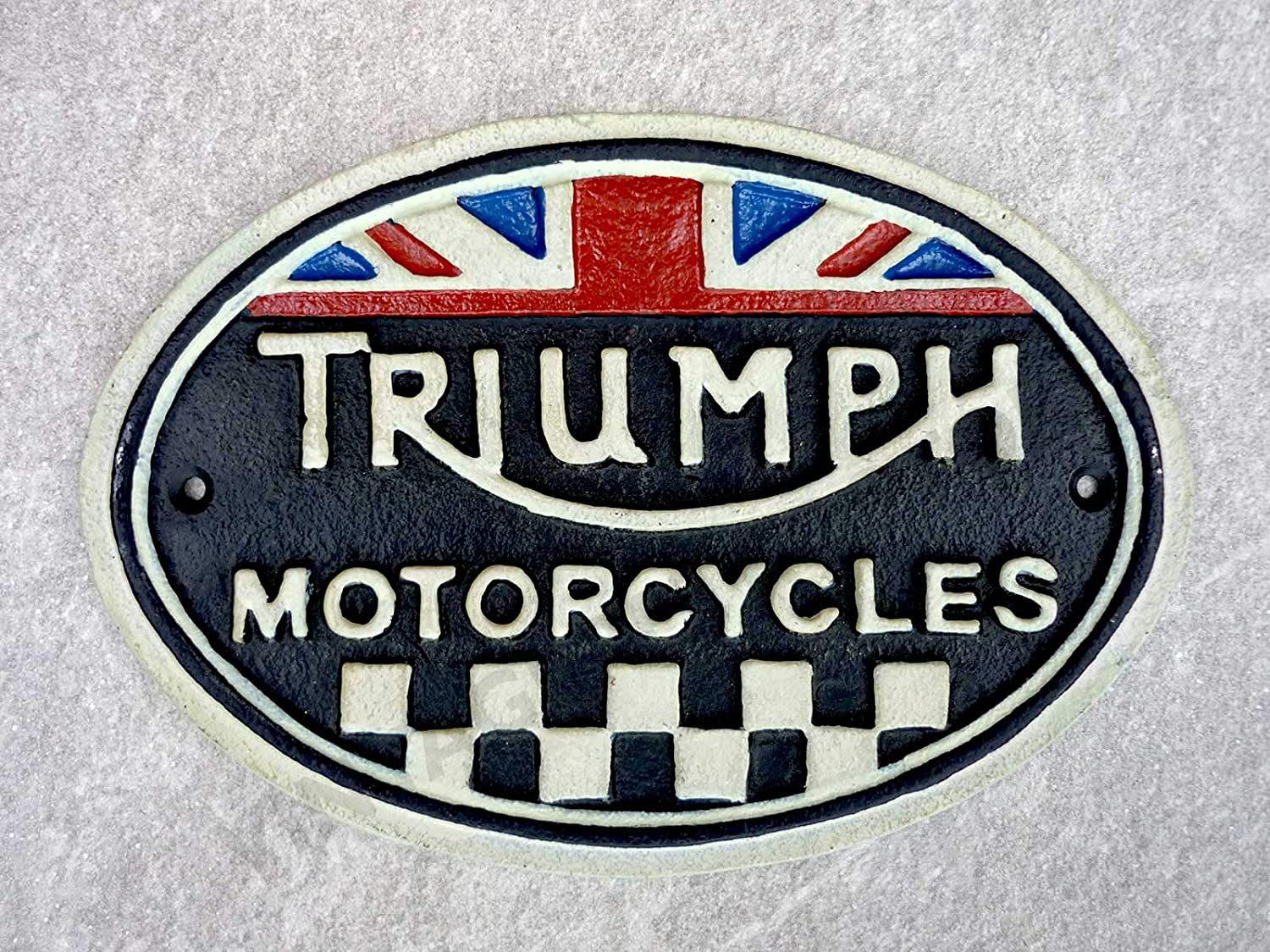 Triumph Motorcycle Sign Cast Iron Vintage Style Finish Hand Painted Classic British Motorbike Plaque Retro 22cm Man Cave Workshop CastIronSigns
