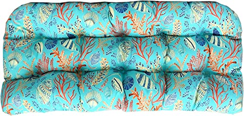 RSH DECOR Indoor Outdoor Large 22 x 44 Wicker Love Seat Settee Tufted Cushion Blue, Peach, White, Cream, Orange, Coral, Red Ocean Life Coastal Coral Reef