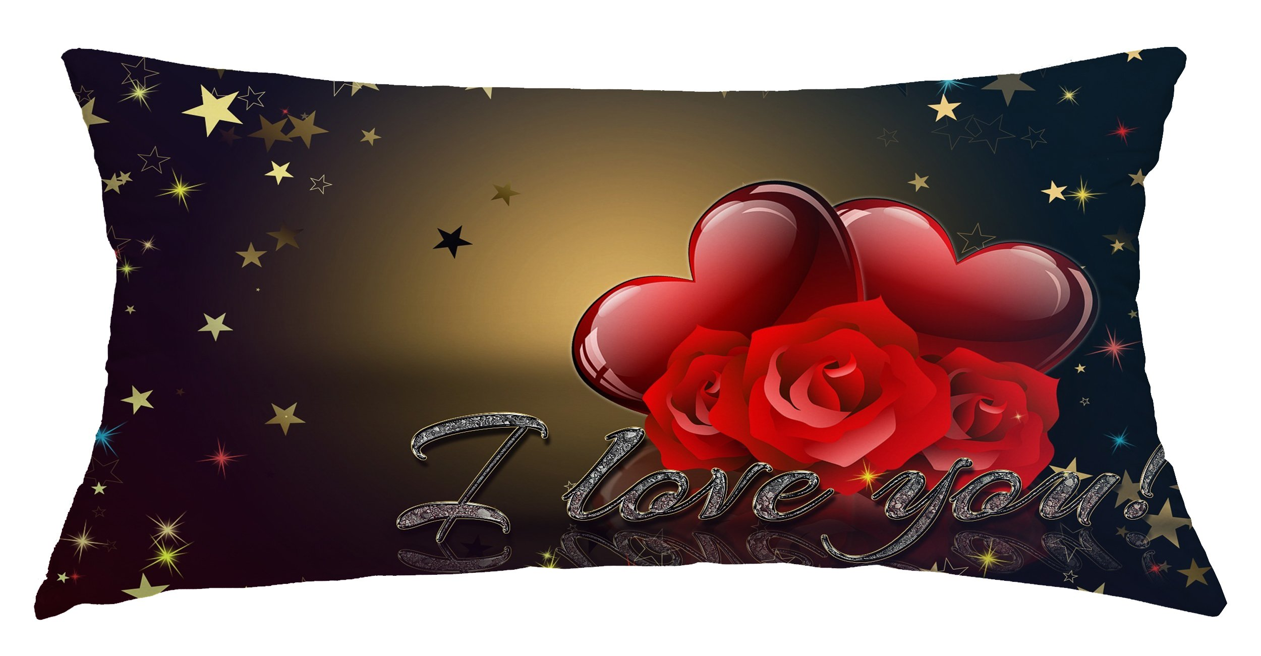 Romantic Love Roses I LOVE YOU Customized Home Decoration Polyester Rectangle Pillow Cover Case 16 x 32 Inch