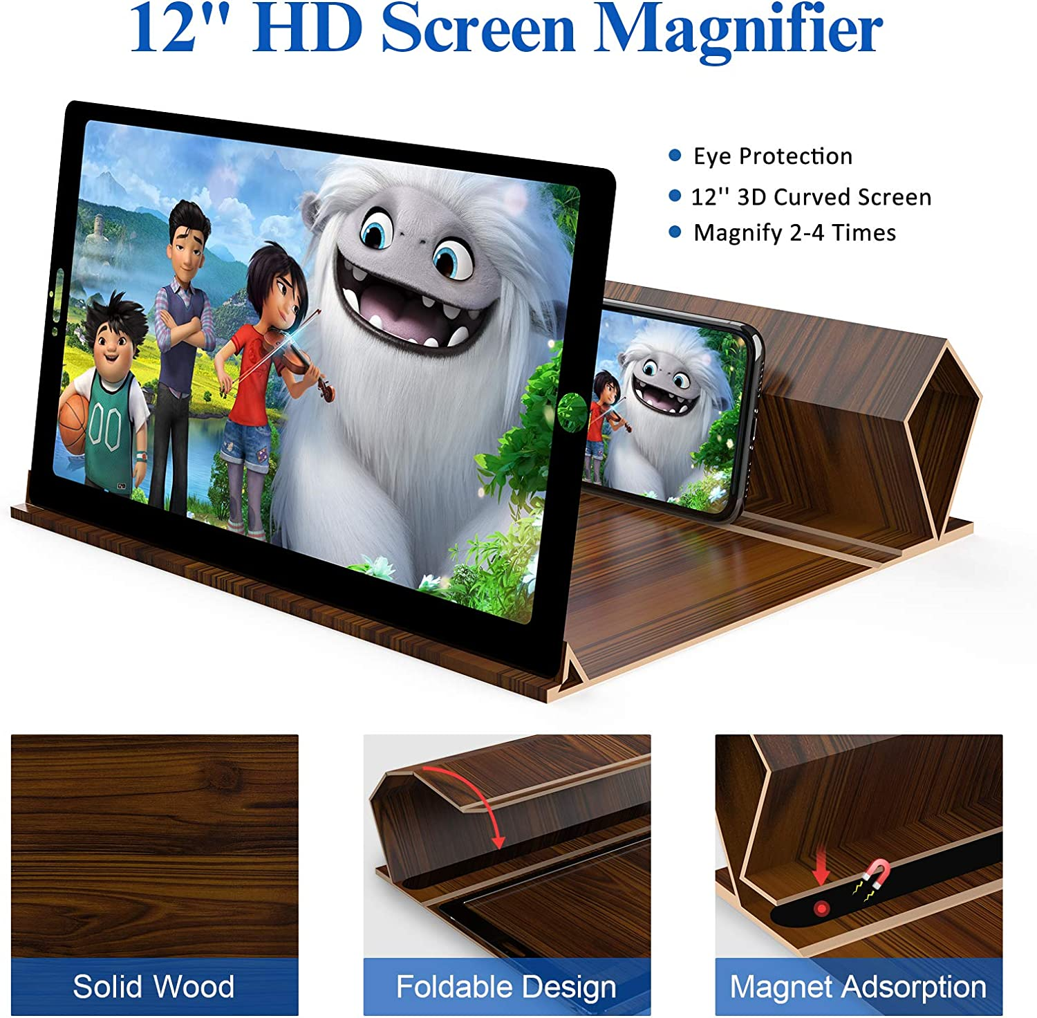 Videos and Gaming Brown Foldable Phone Stand Holder with Screen Amplifier Compatible with All Cell Phone 12 Screen Magnifier for Smartphones-3D HD Magnifing Projector Screen Enlarger for Movies