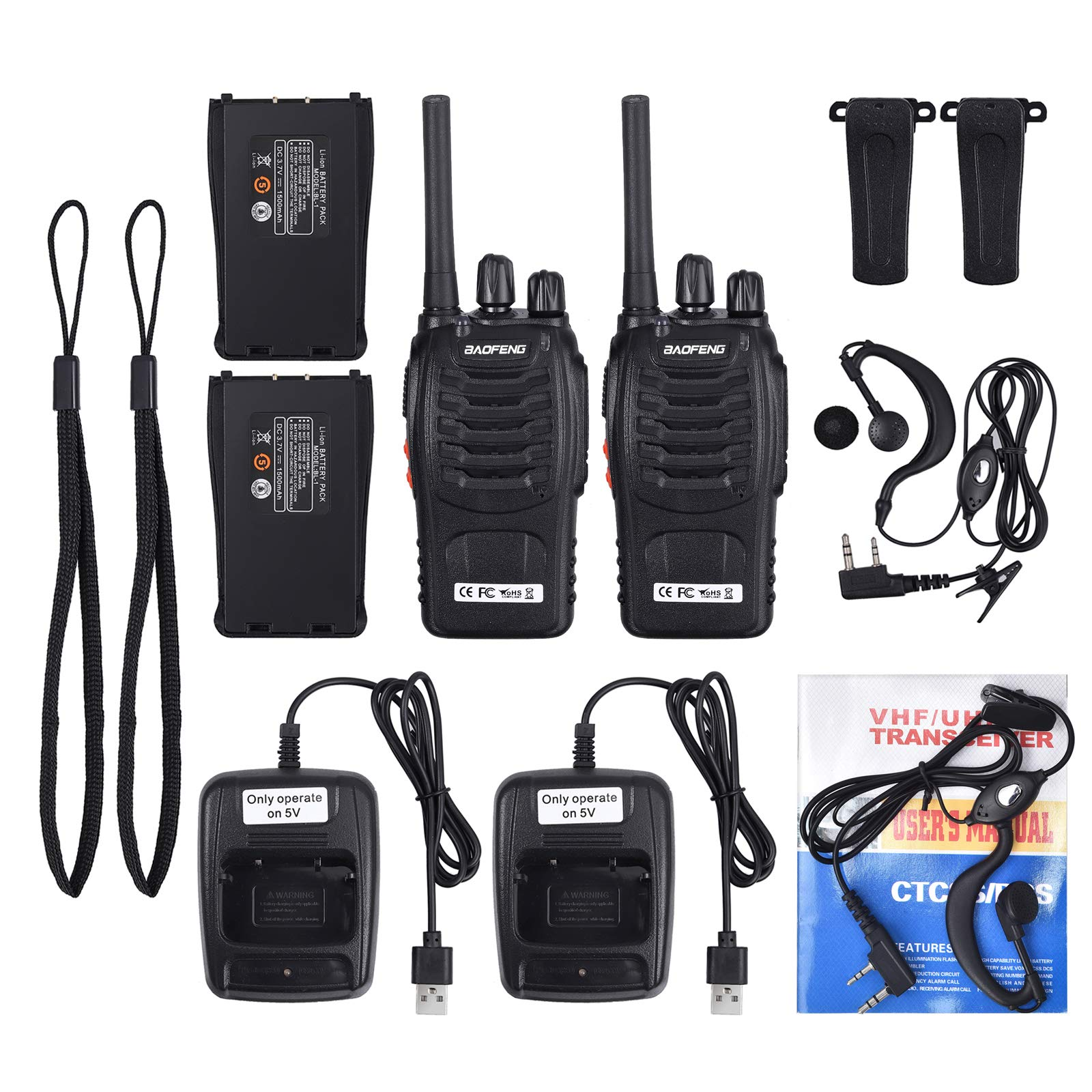 Neoteck 2 PCS Walkie Talkies Long Range 16 Channel 2 Way Radio FRS462MHz Walky Talky Rechargeable with USB Charger Original Earpieces for Field Survival Biking Hiking by Neoteck (Image #5)