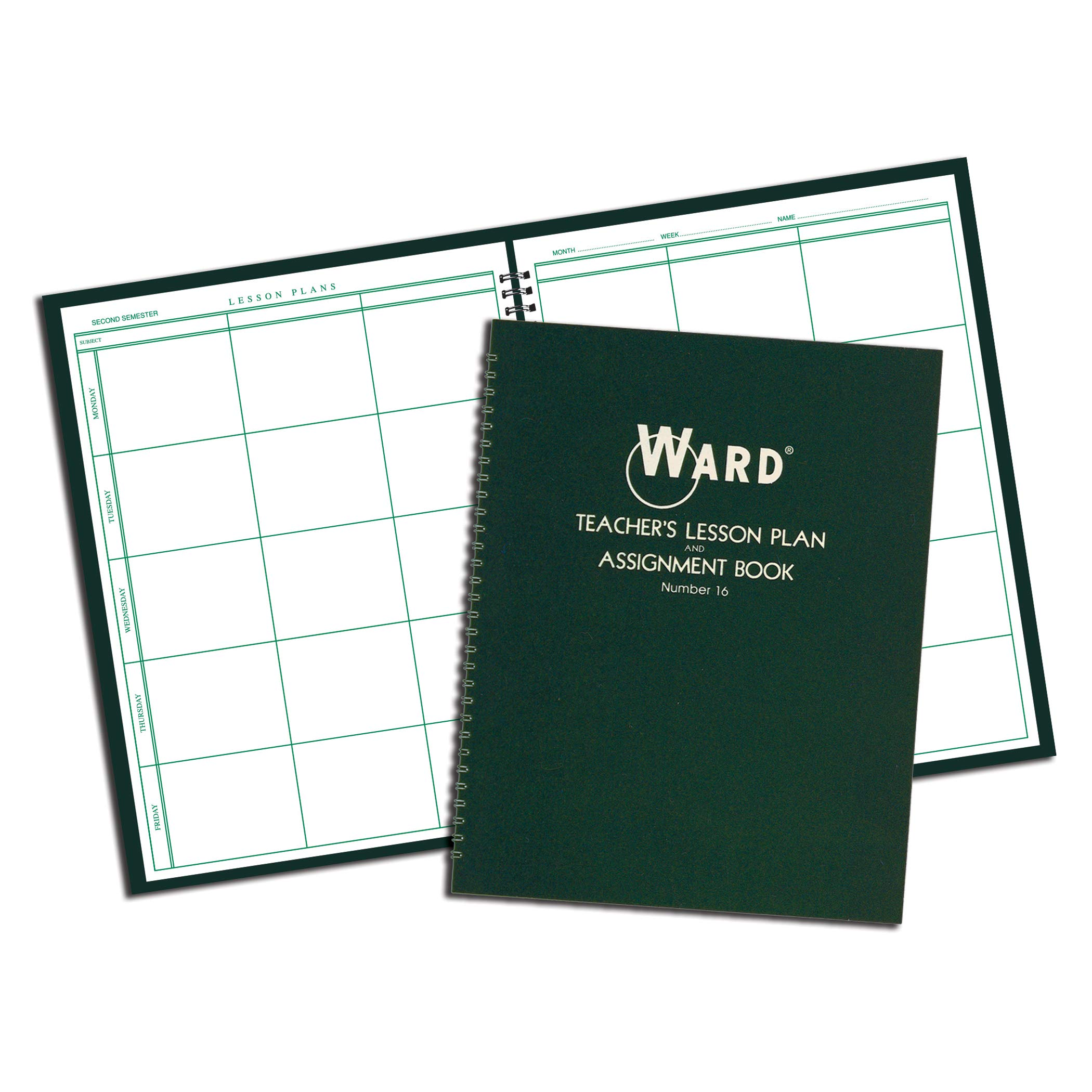 Ward WAR16BN Teacher's Lesson Plan and Assignment Book, 6 Period Regular, Green, Pack of 4