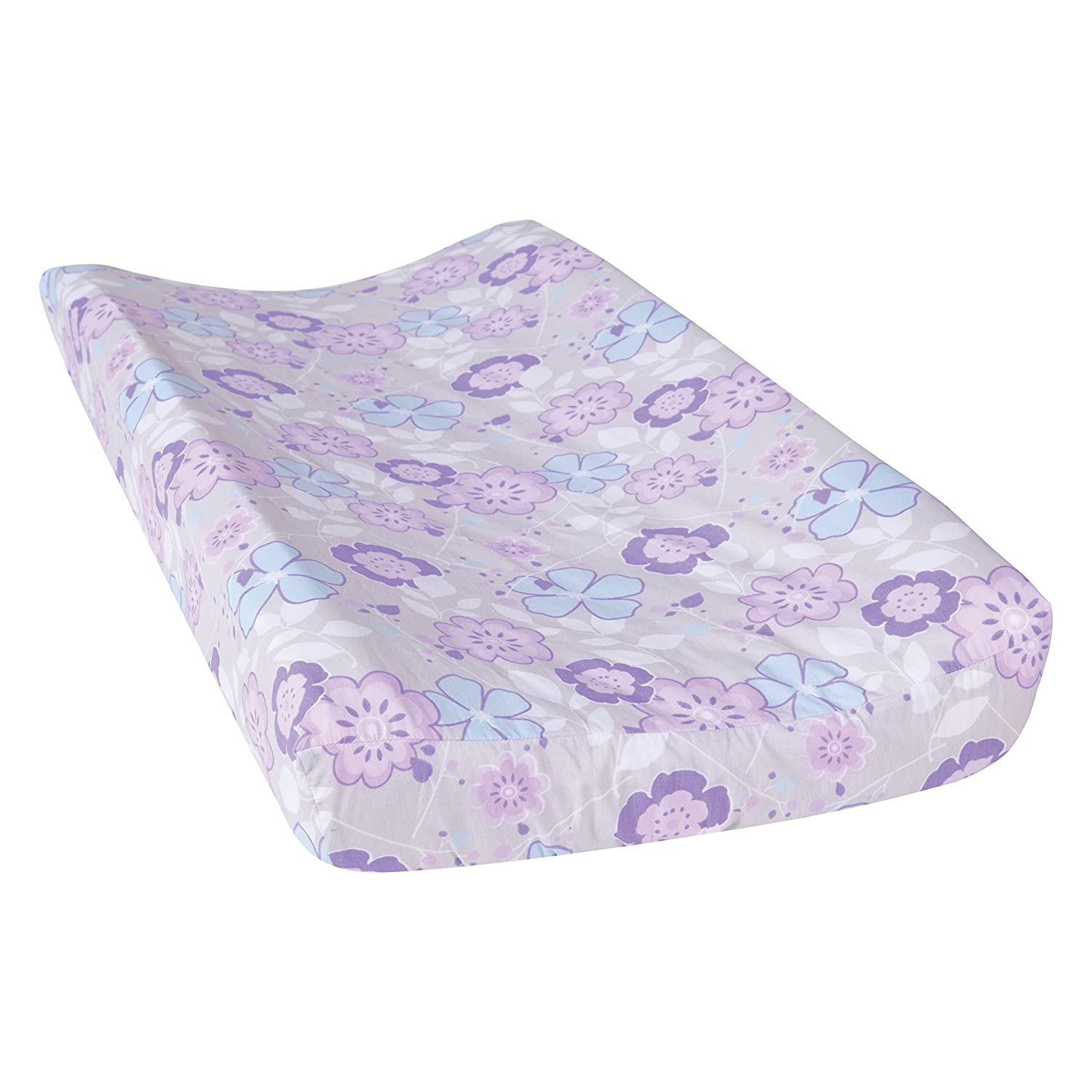 Trend Lab Grace Floral Changing Pad Cover, Purple, Blue, Gray and White 100241