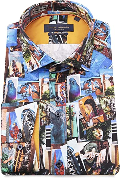Guide London Hombres Camisa Estampada en Forma de Collage ...