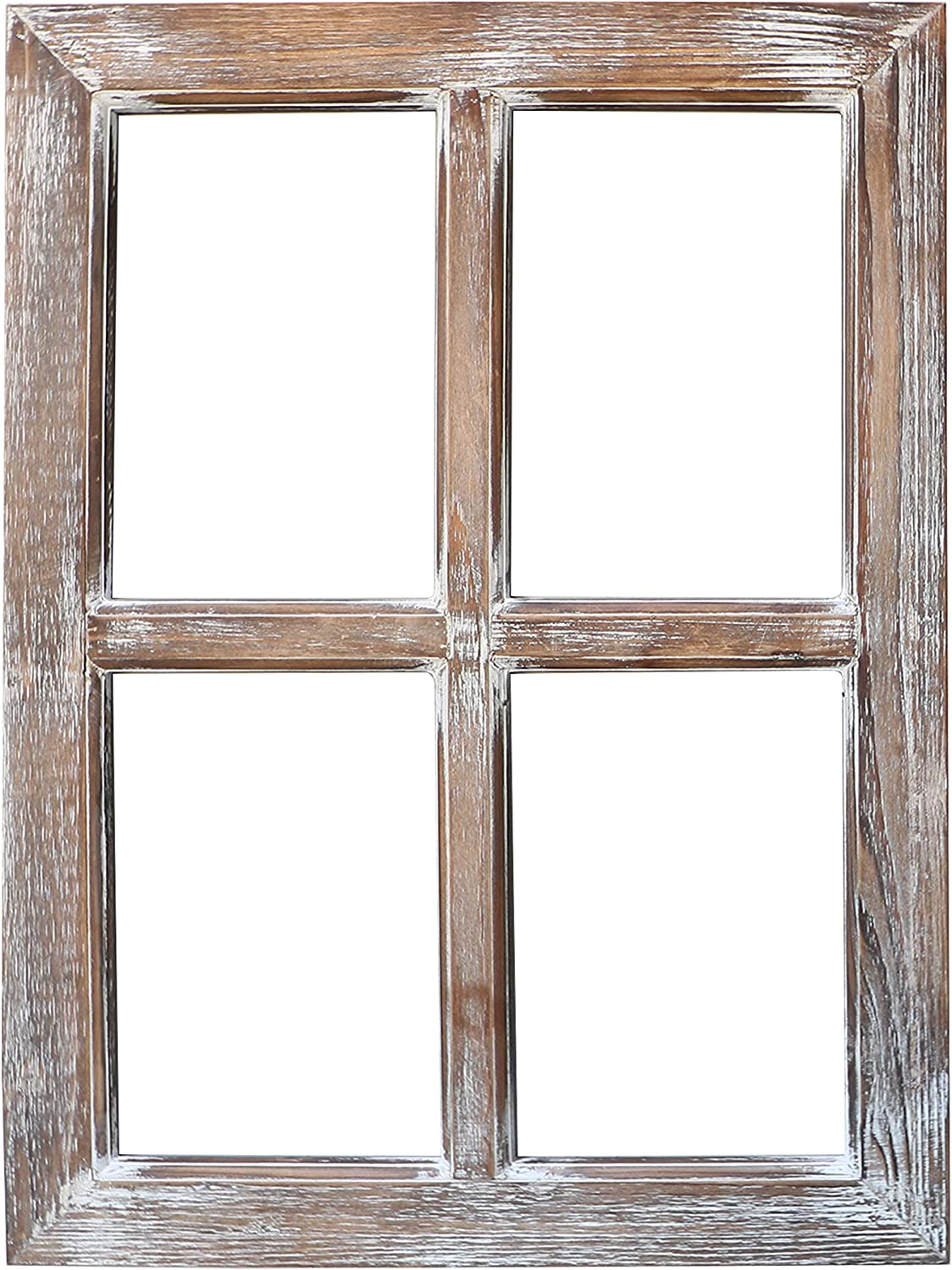 "Barnyard Designs Rustic Barn Wood Window Frame, Decorative Country Farmhouse Home Wall Decor, Wooden Window Pane for Living Room, Bedroom, or Fireplace Mantel, 1 Frame, 18"" x 24"""