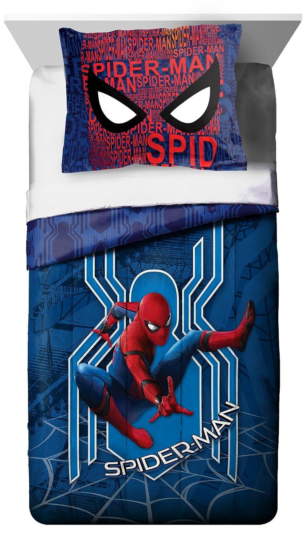 5 Piece Kids Blue White Red Spiderman Comforter Twin Set, Spider Man Bedding Super Hero Themed Web Spidy Design Dark Light Colors Action Heroes Spider-Man, Polyester