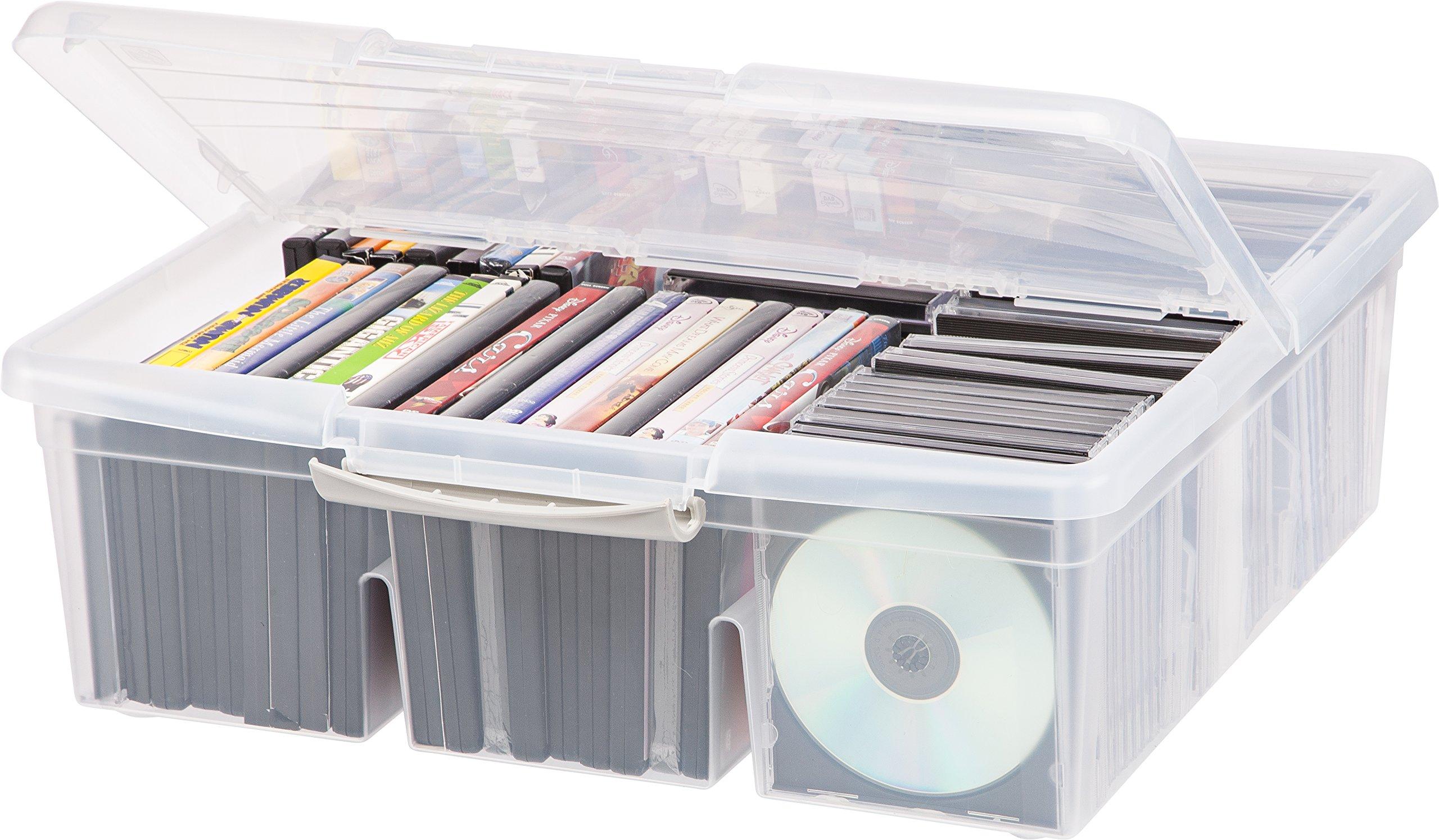 IRIS Large Divided Media Storage Box, Clear by IRIS USA, Inc. (Image #5)