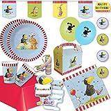 """60 teiliges Party Set Partybox Kinder Jugend Geburtstag Feier """" Kleiner Rabe Socke"""" Vogel Tiere Teller Becher Servietten Luftballons Luftschlangen Tischdecke Girlande Einladungen Partytüten Partyboxen (6-8 Kinder)"""