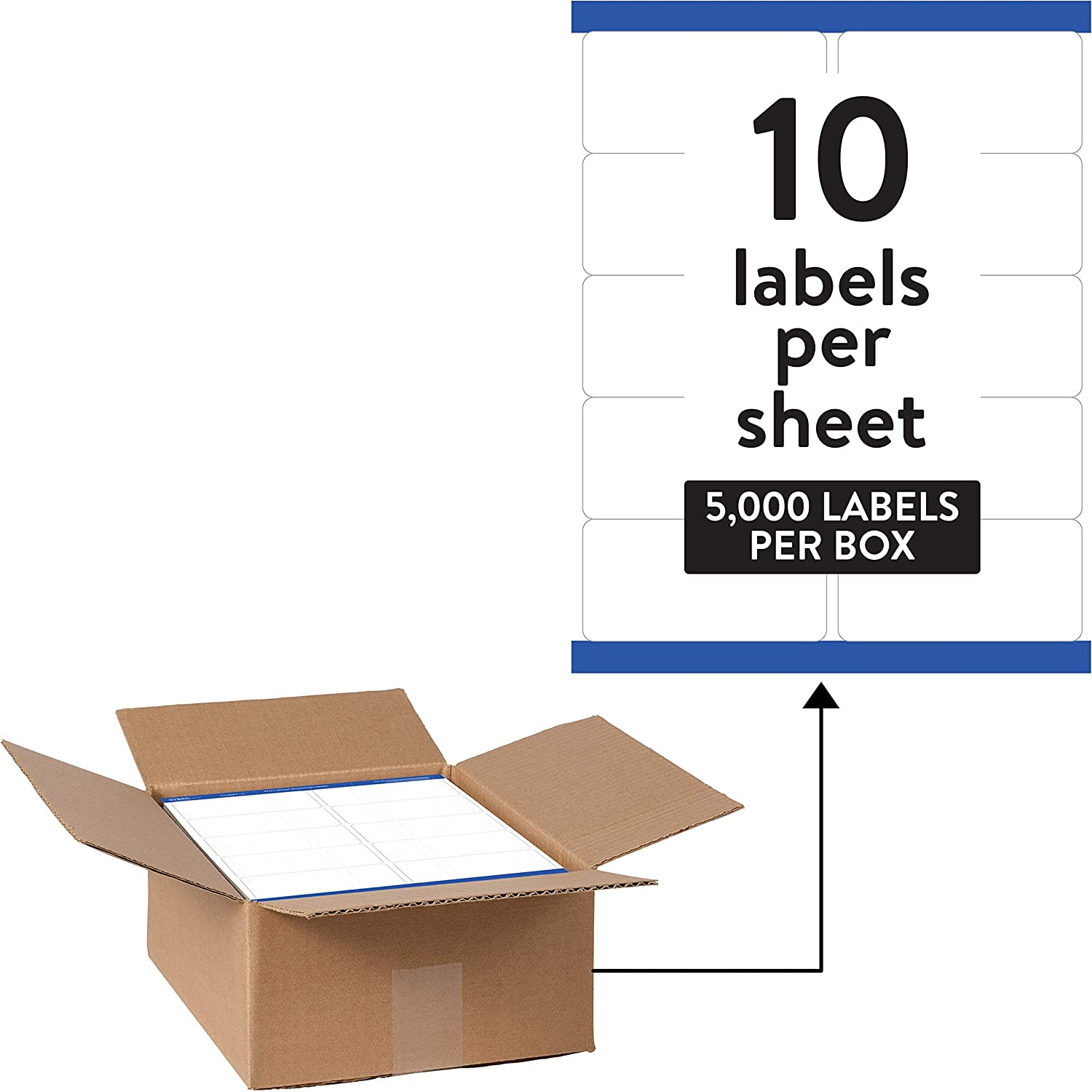 """Avery Waterproof Shipping Labels with Sure Feed & TrueBlock 2"""" x 4"""", 5,000 White Labels (95523)"""