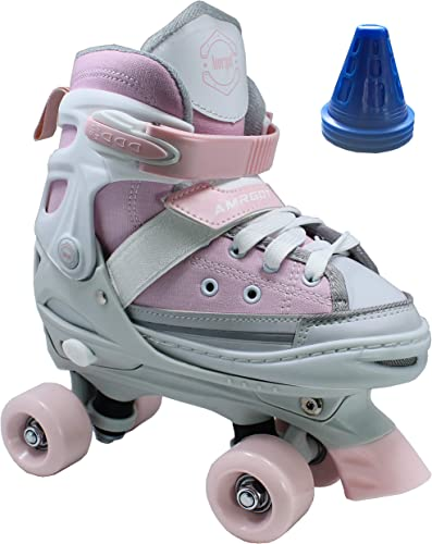 Amrgot Fun Roll Adjustable Canvas Roller Skates with Four Piles