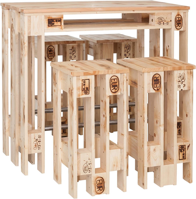 WELCON - Mueble y cuatro taburetes de bar con diseño de palés europeos, muebles de madera hechos a mano con diseño de palés europeos, de la clase extra de bar: Amazon.es: Jardín