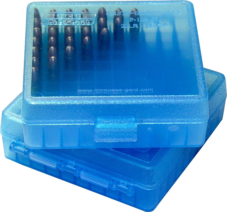 MTM P100-22-24 Boite /à Munitions 22LR /& 25 ACP Bleu Transparent Boite de Rangement pour 100 Cartouches