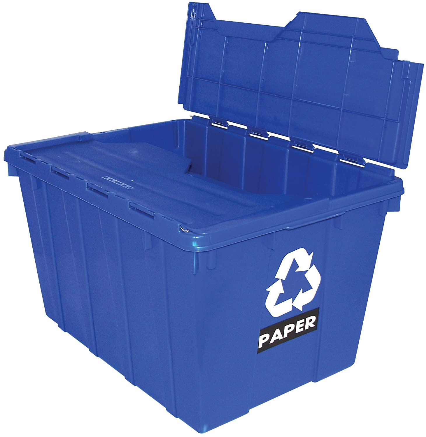 United Solutions EcoSense TO0100 Blue Thirteen Gallon Recycling Tote with Flip Lid - 13 Gallon Flip Lid Recycling Bin in Blue 602337