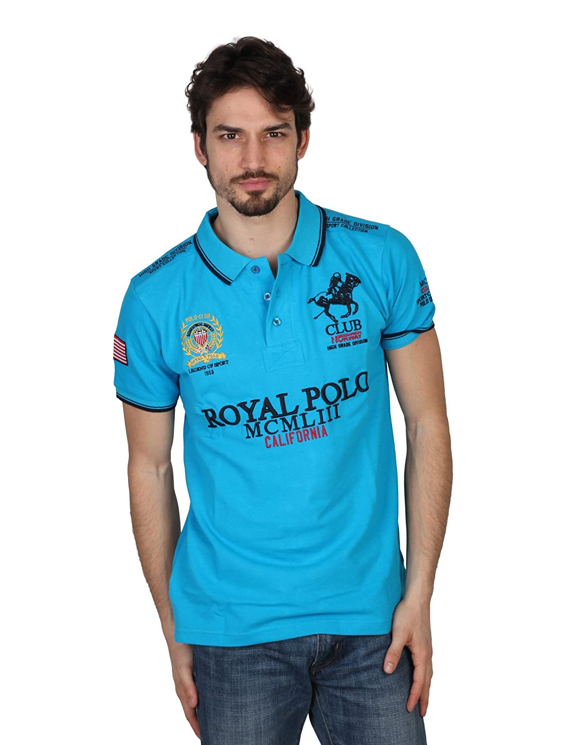 Polo GEOGRAPHICAL NORWAY Homme KriptonB turquoise - -: Amazon.es ...