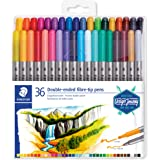Staedtler Double-Ended Fiber-Tip Pens, Washable Ink, Fine & Bold Writing and Coloring Tips, 36 Assorted Colors, 3200…