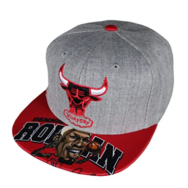 brand new f5895 eb952 M N Basecap Chicago Bulls Caricature Grey Red Snapback