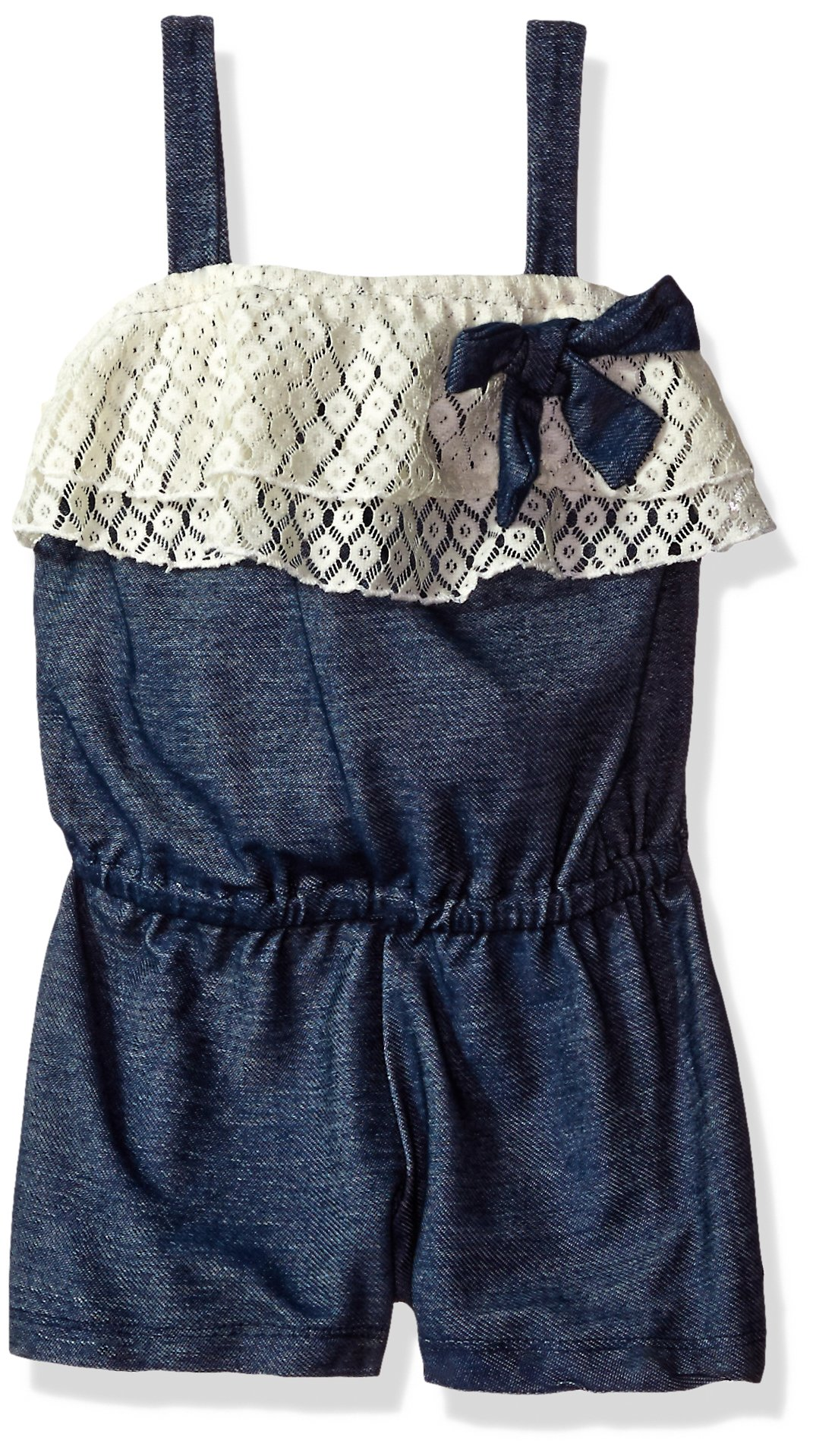 One Step Up Little Girls' Ruffle Knit Denim Romper, Darkblue Denim, 4