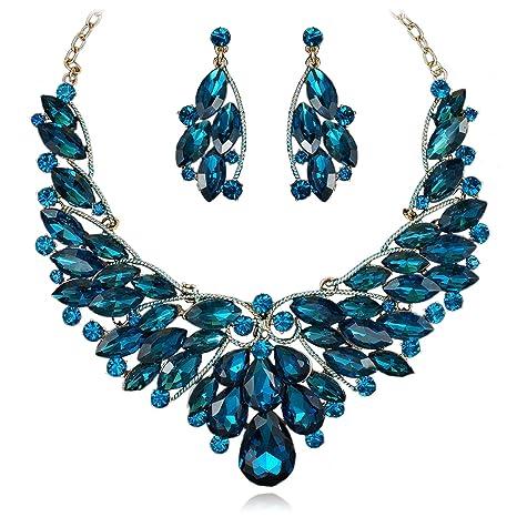 e3881b3cd Amazon.com: Navy Blue Rhinestone Alloy Dangle Earrings Collar Bib Necklace  Set Bridal Wedding Prom YT2273 18