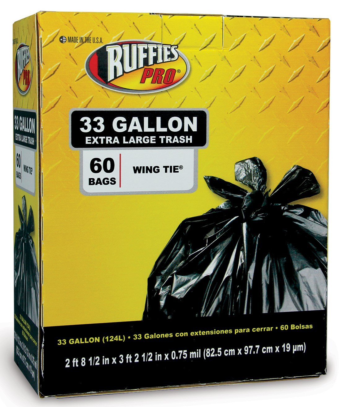 Ruffies Pro 1124904 33 Gallon Extra Large Black Trash Bags 60 Count by The Berry Company (Image #1)