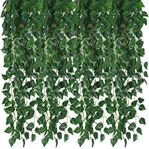Kalolary 176 Ft 24 Strands Artificial Ivy Garland Leaf Vines Plants Greenery, Hanging Fake Plants, for Wedding Backdrop Arch Wall Jungle Party Table Office Decor (Scindapsus)
