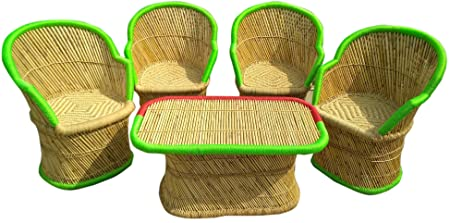 Ecowoodies Grosso Bamboo Wooden Chair Table Outdoor Furniture Set for Terrace Lawn Garden Outdoor Patio Indoor Outdoor for Garden Chair Sets (4+1)