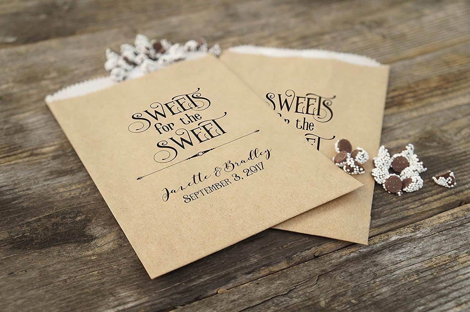 Cookie Favor Bags Rustic Wedding Sacks Kraft Paper Candy Bags Set of 25 Barn Wedding Sweets Table Grease Resistant Lined