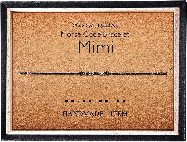 Morse Code Bracelet 925 Sterling Silver Beads on Silk Cord Secret Message Mimi bracelet Gift Jewelry for her