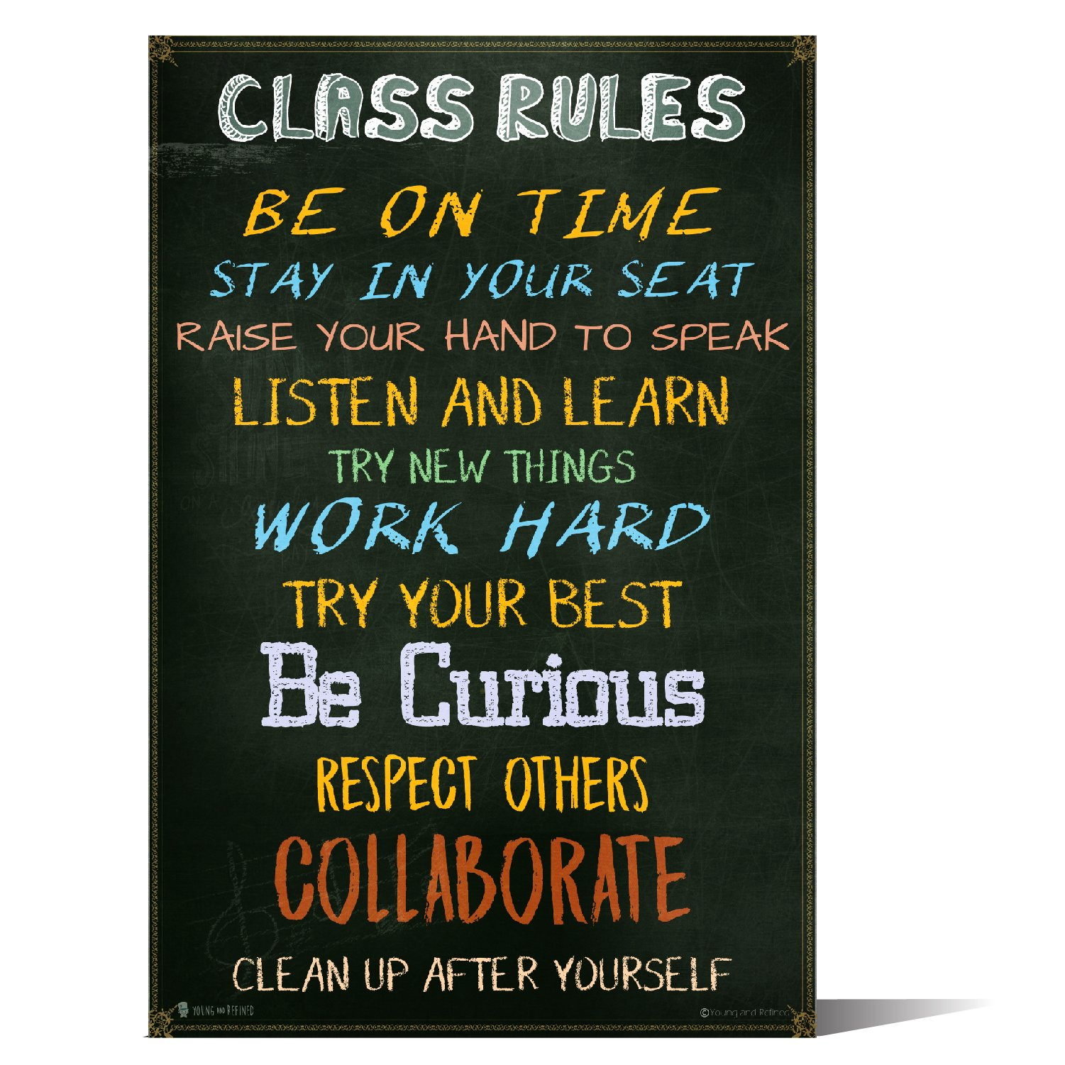 Classroom Rules sign chart LAMINATED EXTRA LARGE by Teachers for students learning in school study hall (20x30) by Young and refined (Image #1)