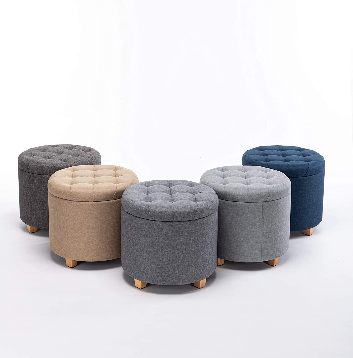 HNNHOME® 45cm Round Linen Padded Seat Ottoman Storage Stool Box, Footstool Pouffes Chair with Lids (Grey) Charcoal