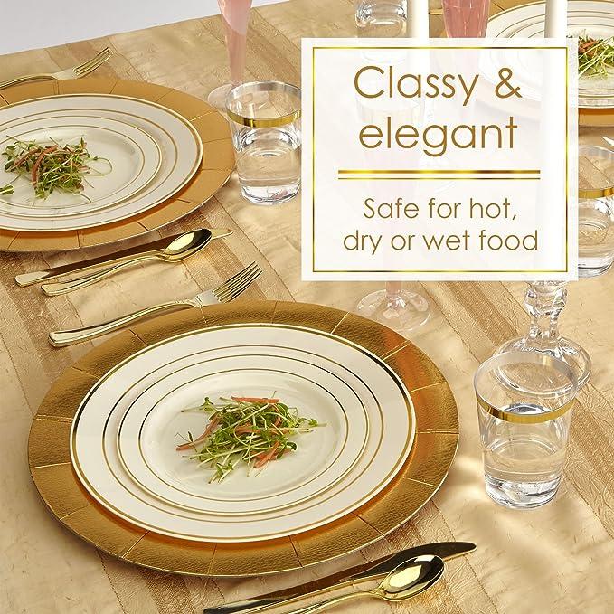 Golden brillos colección elegante China vajilla desechables plato redondo marfil con borde dorado (para bodas, fiestas y eventos - Peso pesado plástico ...