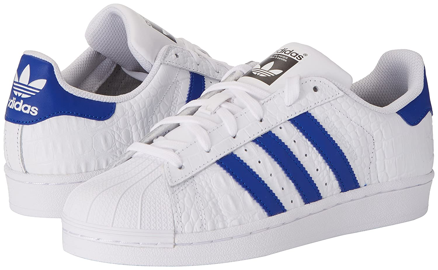 adidas superstar shoes white and blue