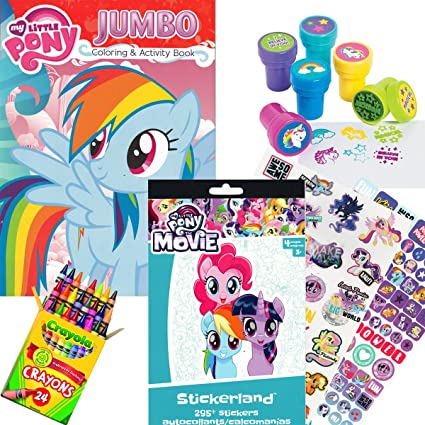 My Little Pony Coloring Activity Book With MLP The Movie Stickers Crayons And Stampers
