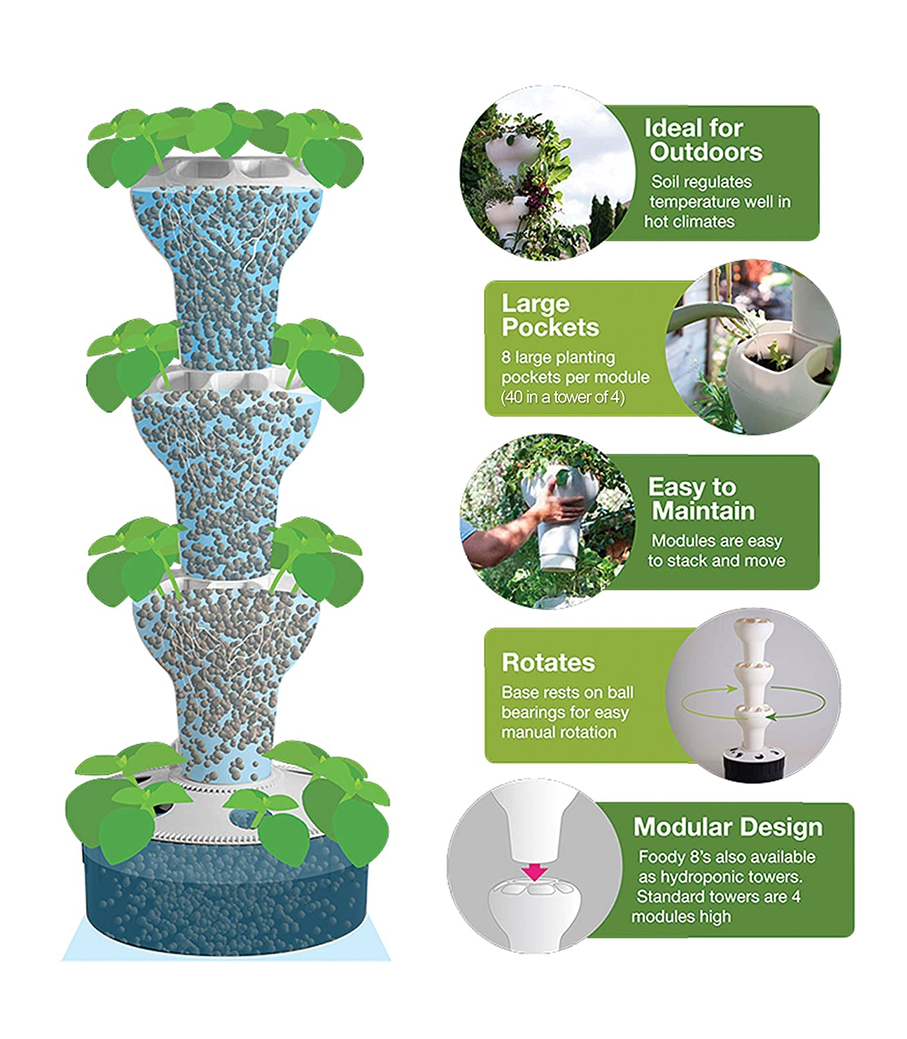 indoor tower garden. Amazon.com: Foody 8 Vertical Hydroponic Home Garden - Enjoy Fresh Herbs, Vegetables, Edible Flowers All Year Long Indoor/Outdoor: \u0026 Outdoor Indoor Tower
