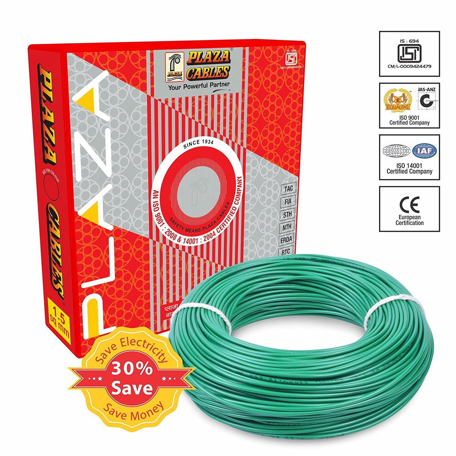 PLAZA PVC Insulated 2.5 Sq. mm Cable (Green, 90m): Amazon.in ... on