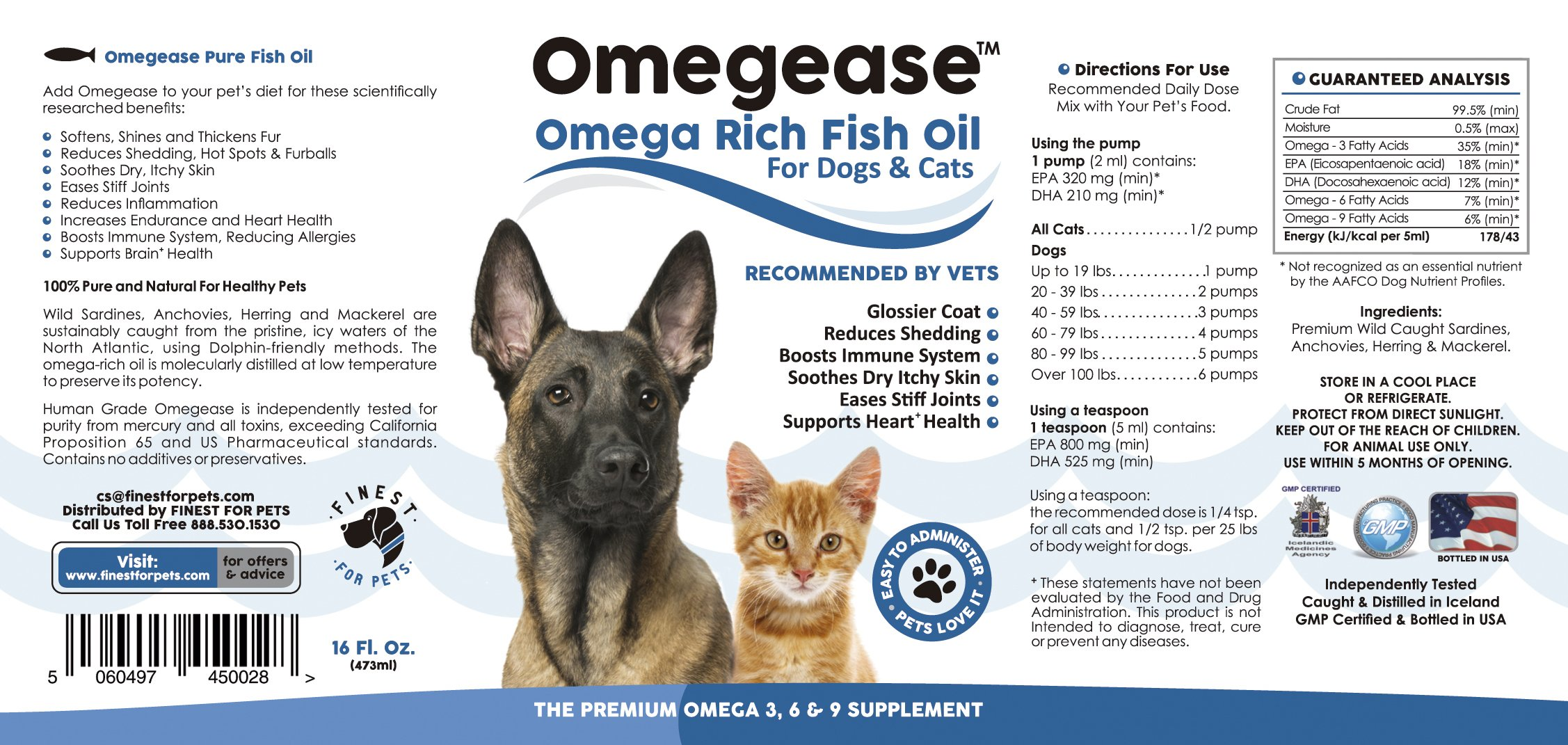 Omegease Omega 3, 6 & 9 Fish Oil for Dogs and Cats, 16 Ounces by Finest For Pets