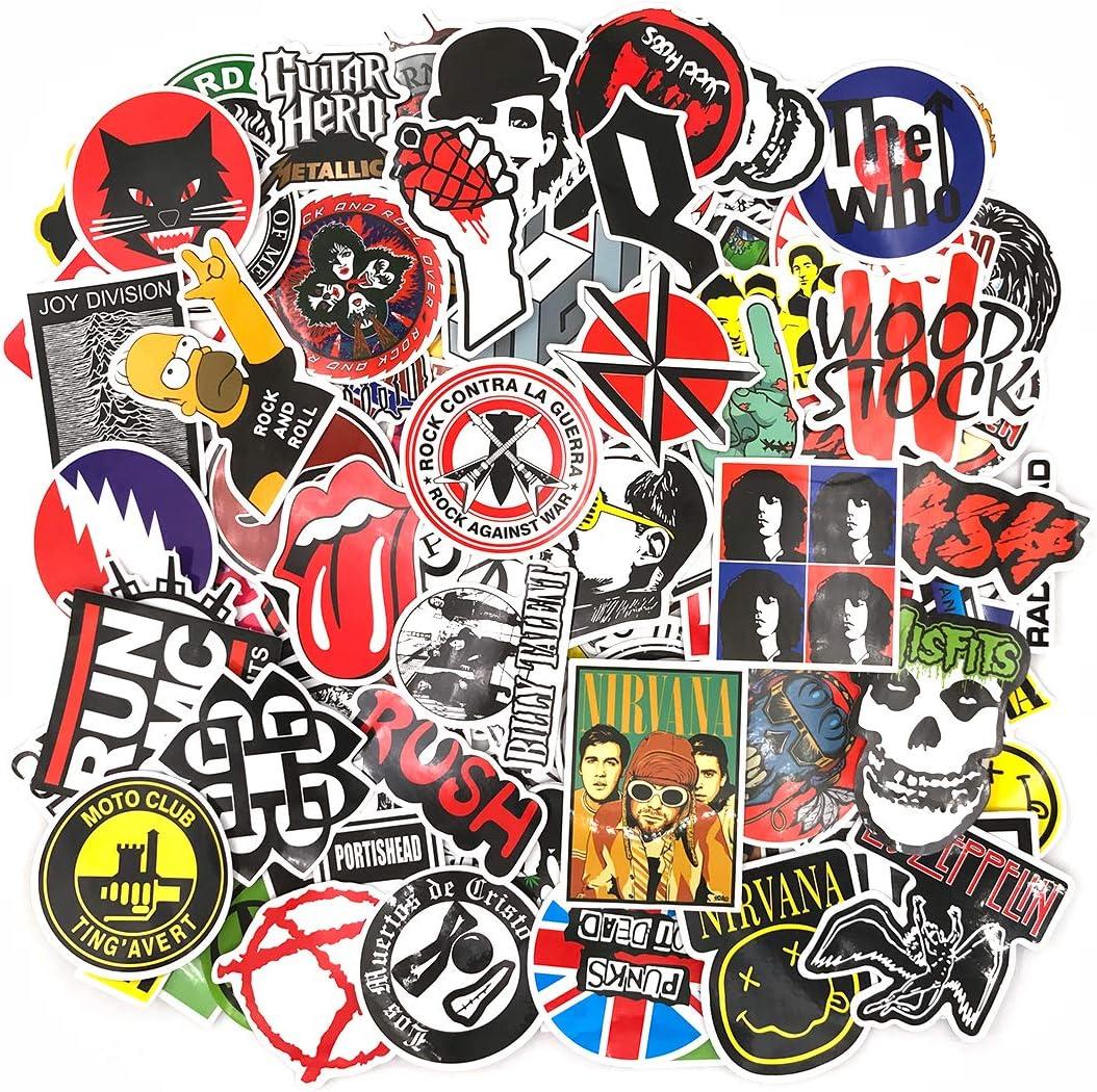 Street Autocollants Rock and Roll Stickers Punk M/étal Guitare R/étroVintage 110PCS Voiture Autocollants Vinyle Stickers pour Bagages Ordinateur Portable Bouteilles deau Phone Valise voyage