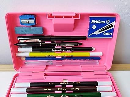 Estuche plumier rigido Pelikan años 80 Rosa: Amazon.es: Oficina y papelería