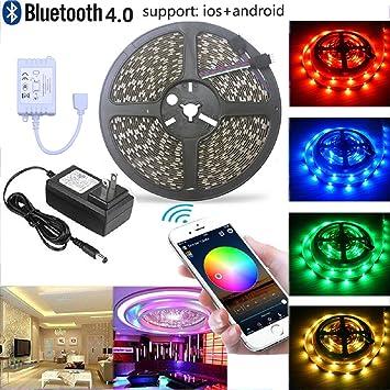 Amazon.com : Visdoll Bluetooth Led Strip Lights Kit, SmartPhone ...