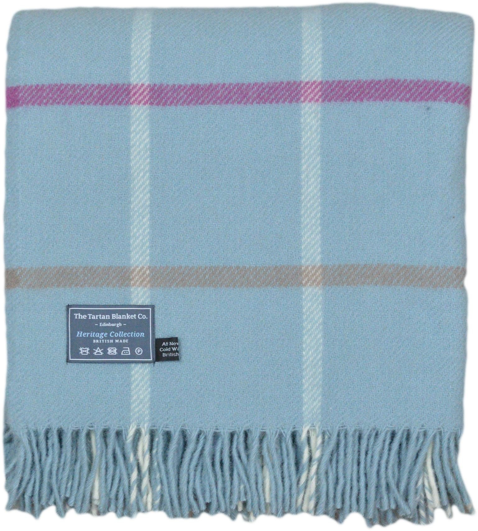 The Tartan Blanket Co. New Wool Knee Blanket Duck Egg Blue Windowpane (30'' x 70'')