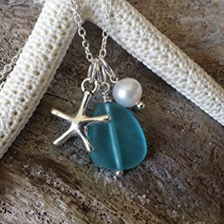 product image for Handmade in Hawaii, blue sea glass necklace,Freshwater pearl, starfish charm, (Hawaii Gift Wrapped, Customizable Gift Message)