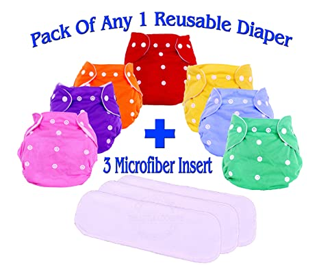 Baby Pocket Diapers Adjustable Reuseable Washable Cloth Diaper 3pcs+3pcs Inserts