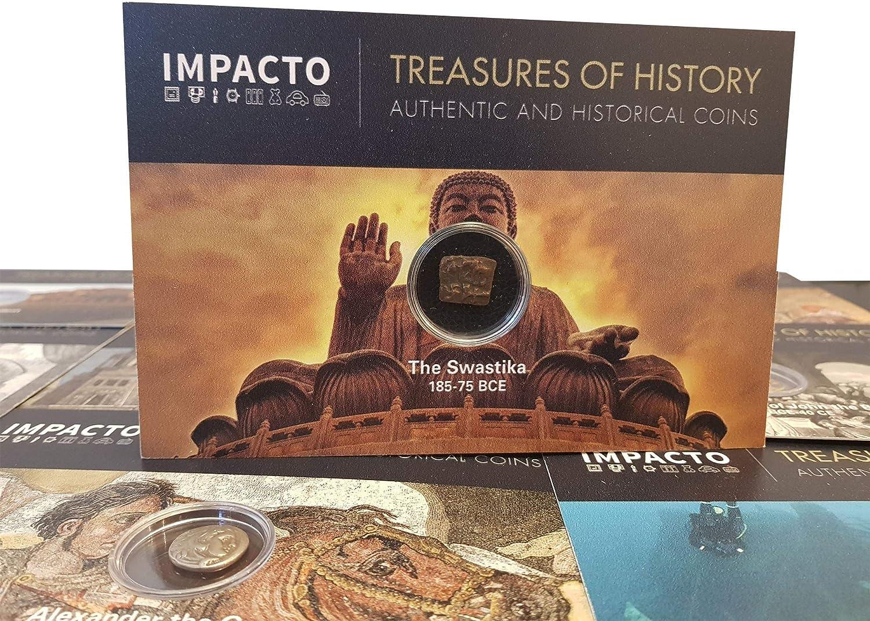 IMPACTO COLECCIONABLES Tesoros con Historia: Moneda Original de la Antigua India 185-75 a.C. - La Esvástica