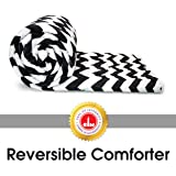 Divine Casa Microfiber All Weather Lightweight Single Comforter/Blanket/Quilt/Duvet, Abstract- White and Black (110 GSM)