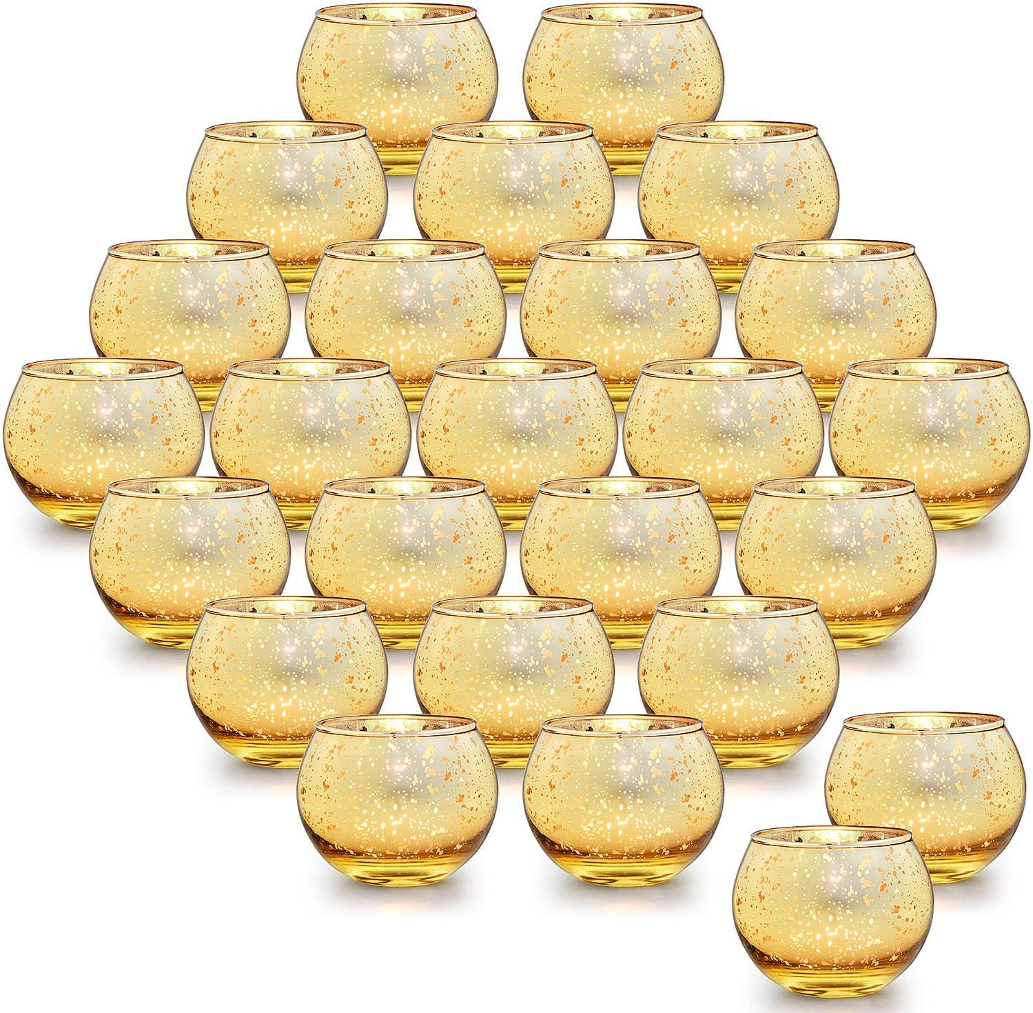 LETINE 36pcs Gold Votive Candle Holders for Table - Round Tealight Candle Holder Bulk -Ideal Mercury Glass Votives Centerpieces for Wedding Table Decorations, Parties & Home Decor