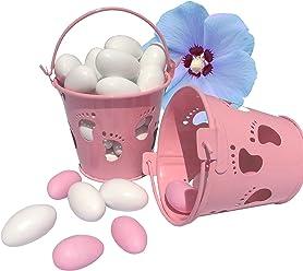 EinsSein 5X Mini Eimer Taufe Füßchen rosa Gastgeschenke Taufe Weihe Minieimer Taufmandeln Junge Mädchen kartonage Kinderwagen kleine Foto anhänger füsse blau tütchen Baby Box