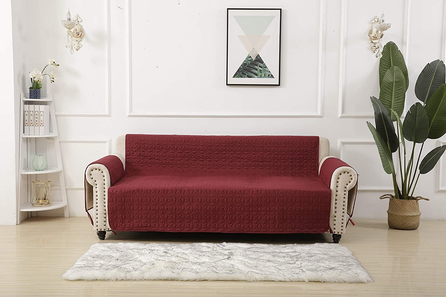 """Sofa Slipcovers 78 Inch - RBSC Home 100% Waterproof Quilted Thick Couch Cover for Dogs, Cats (78"""" Sofa, Burgundy)"""