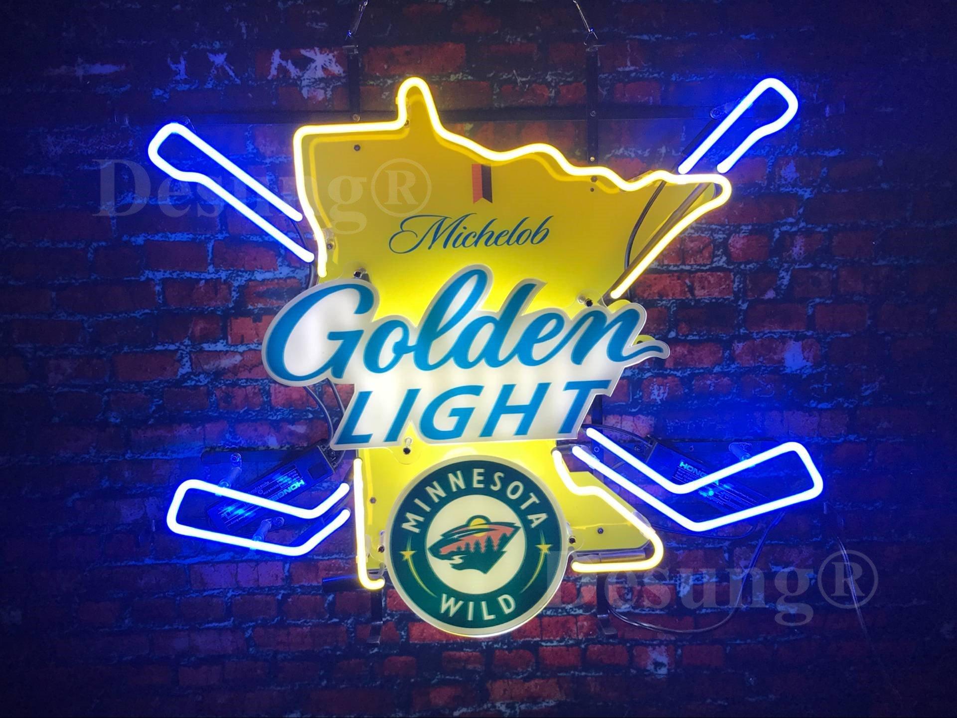 Desung New 24''x20'' Sports MW Team G olden Light Neon Sign Man Cave Signs Sports Bar Pub Beer Neon Lights Lamp Glass Neon Light DX16