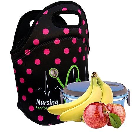 3928d8052b81 Nurses Insulated Lunch Tote Bag X-large, X-Thicker Insulation Stylish  Luxury Nurse Gift Idea by EatRite (Black/FuchsiaDot)