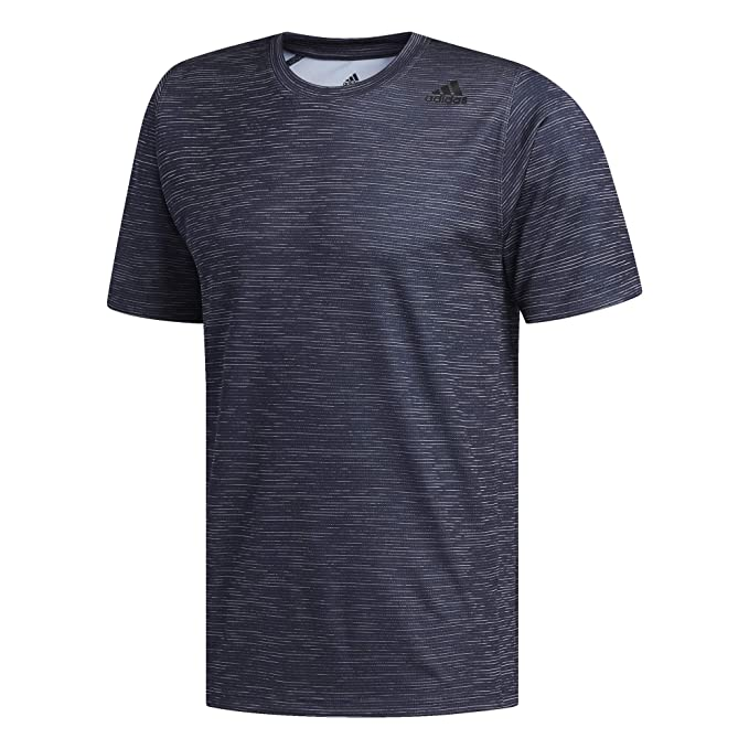 adidas Freelift Tech Fitted Striped Heathered Tee, M/M, Legend Ink