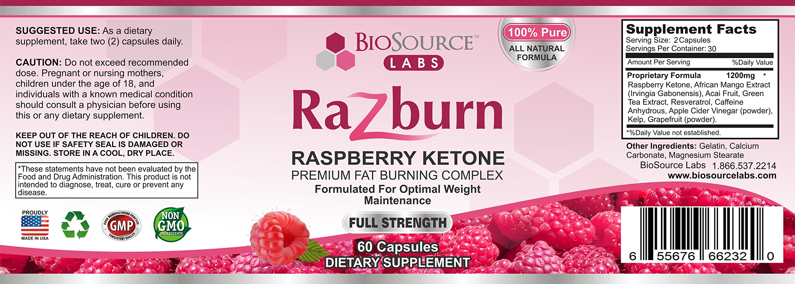 BioSource Labs Razburn 100% Pure Raspberry Ketones Complex - All-Natural Thermogenic Weight Loss Pills with Caffeine and Green Tea Extract for Men & Women - (60 Vegetarian Capsules) by BioSource Labs